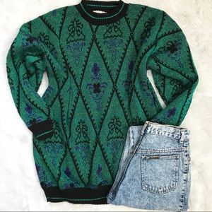 Vintage 90'a Graphic Green Sparkly Sweater